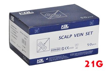 פרפריות לבדיקת דם 21G KDL מארז של 50 יח' - Butterfly Needles Scalp Vein Set KDL 21G Box with 50 Pcs